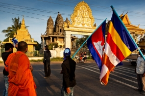 Roadblock on NR:5 during the Monk Walk; Justice brings Peace;